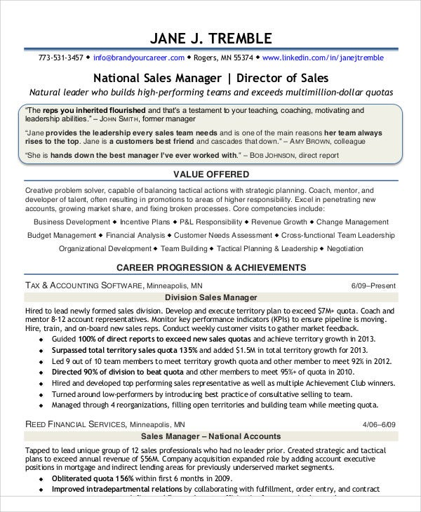 sample sales director resume