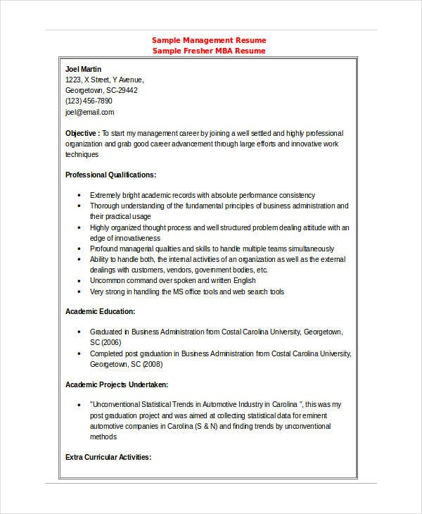 mba finance fresher resume1