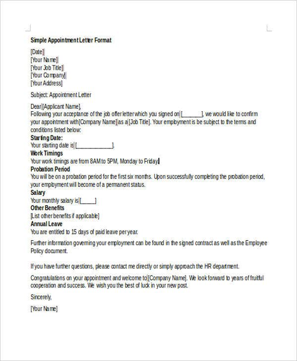 appointment offer letter template in doc