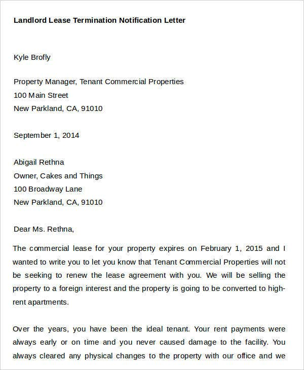 landlord lease termination notification letter