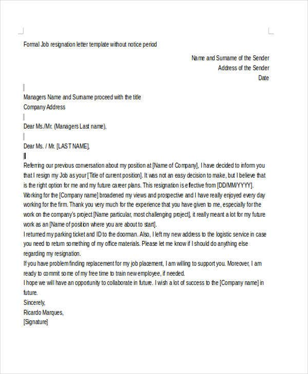 Sample Resignation Letter Template  Free  Premium Templates