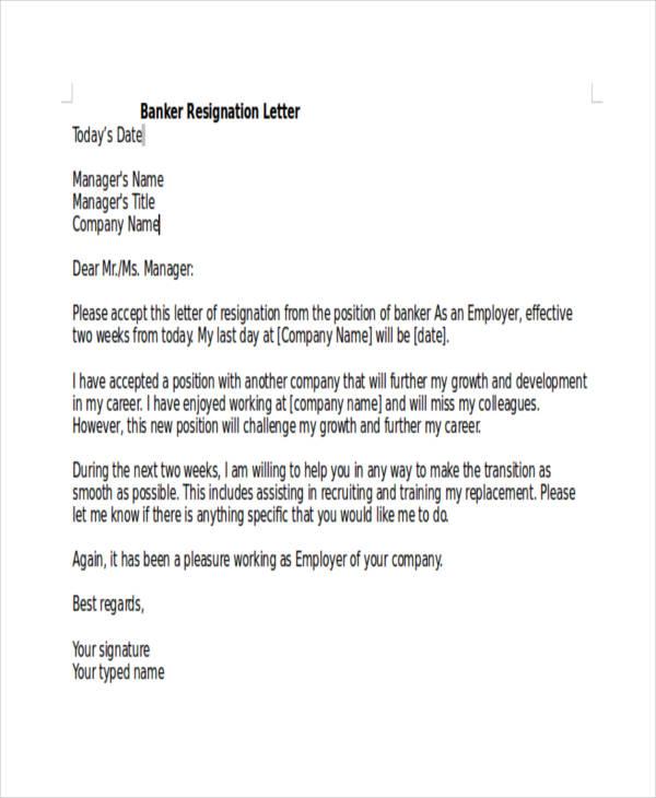 Sample Resignation Letter Templates  Free  Premium Templates
