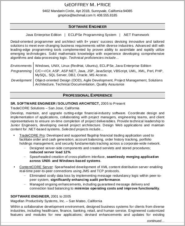professional software engineering resume
