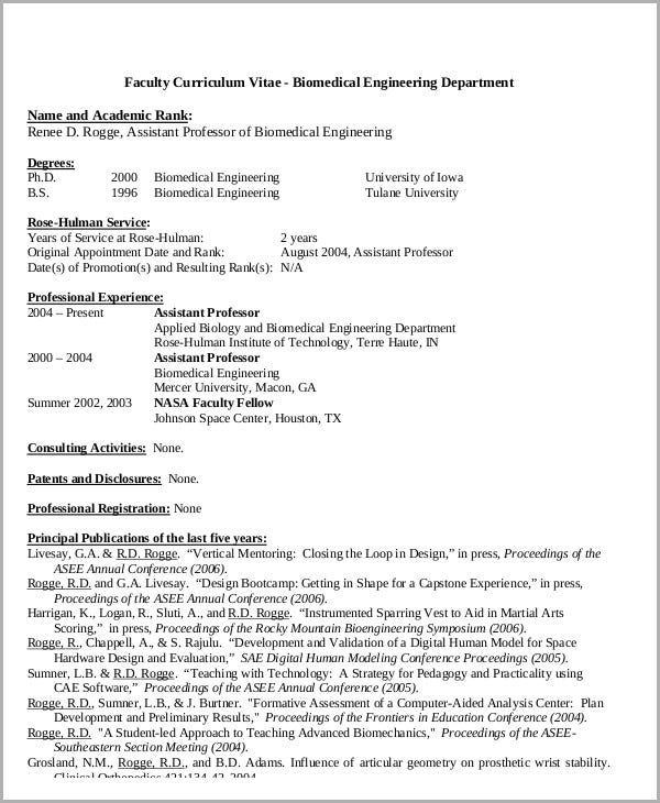 54 Engineering Resume Templates – Biomedical Engineer Resume