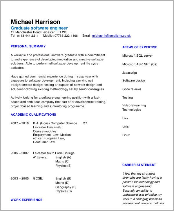 Software Resume Example  Software Engineering Resume