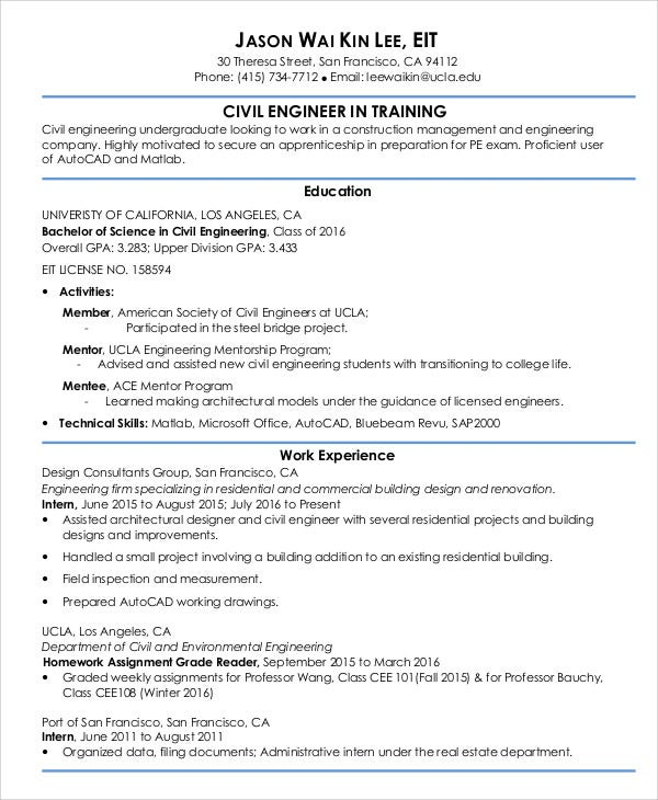 civil engineering resume entry level 28 images