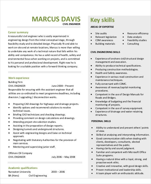 civil engineering skills resume