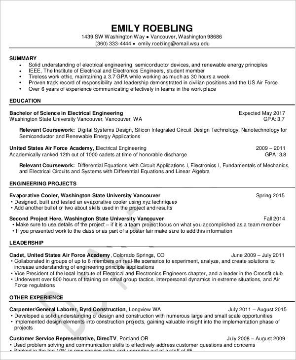 electrical engineering fresher resume