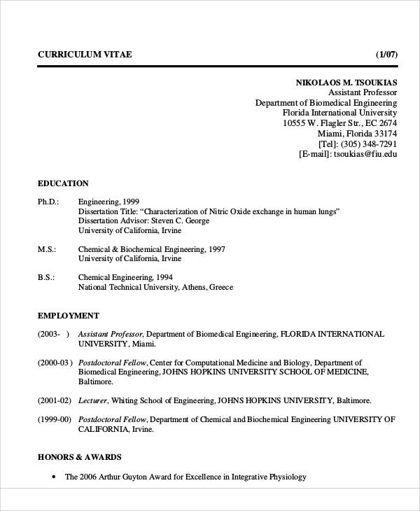 biomedical engineering professor resume
