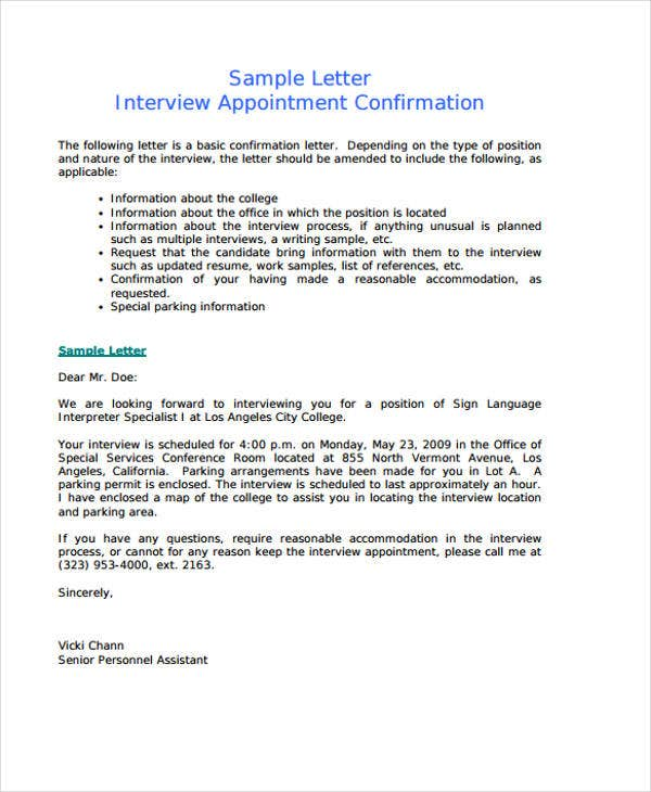 Interview Confirmation Reply Debt Spreadsheet Doc