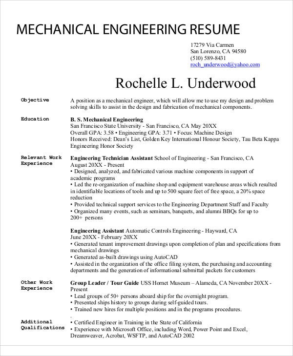 sample mechanical engineering - Mechanical Engineer Resume Template