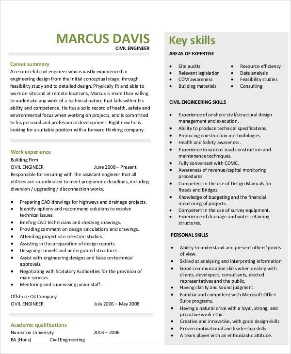 sample civil engineering resume