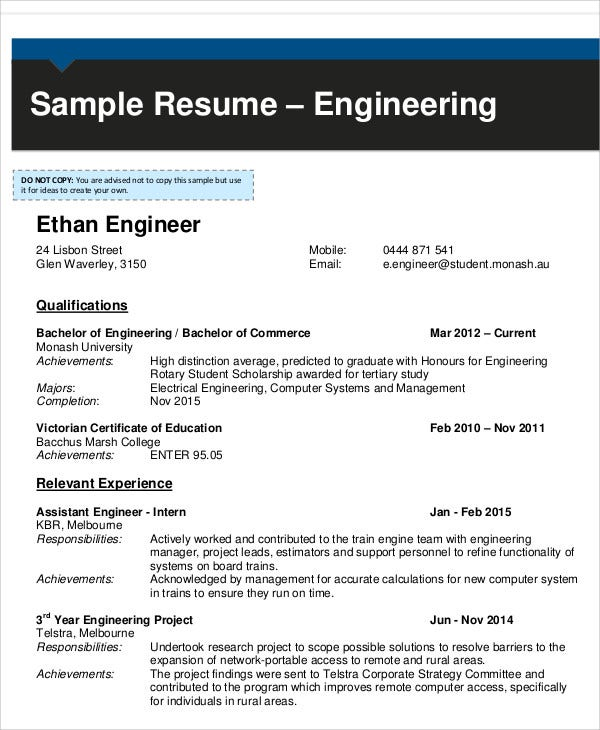 engineering fresher resume