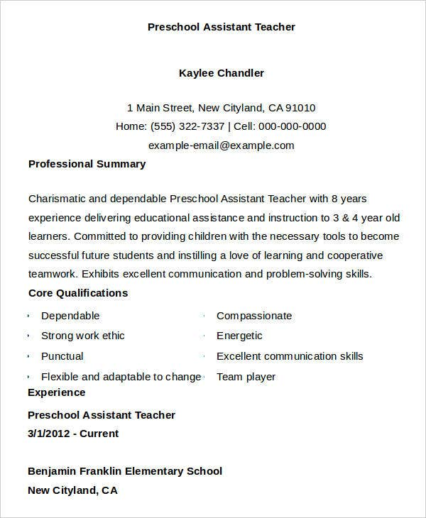 preschool assistant teacher resume
