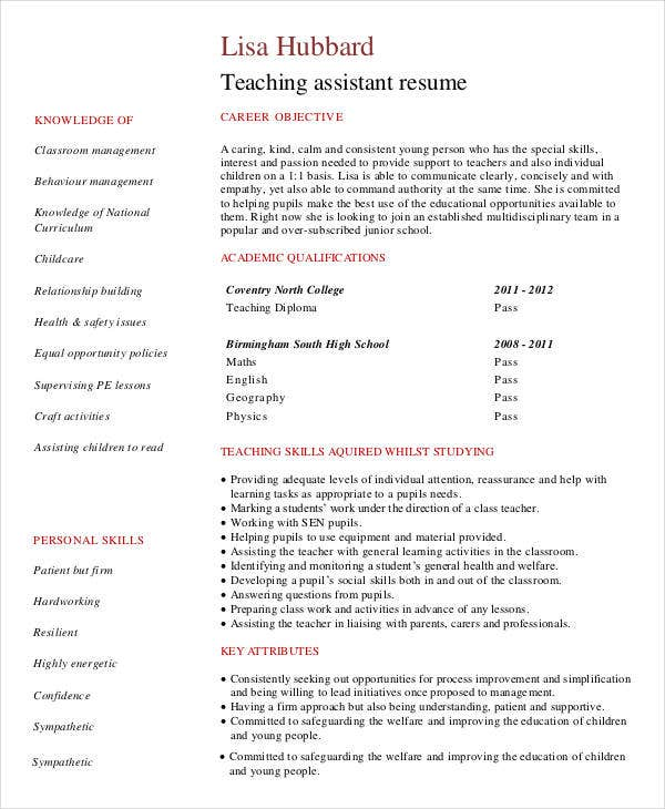 preschool assistant teacher with no experience - Teacher Resume Samples With No Experience
