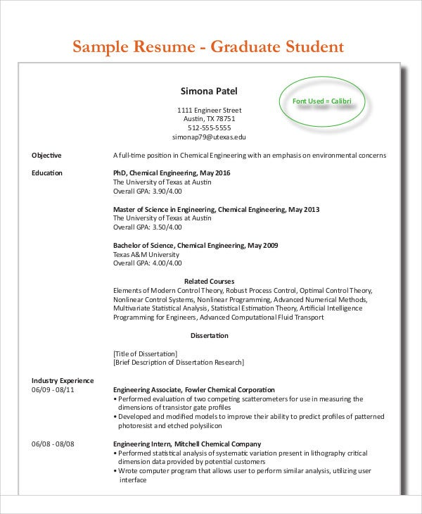 engineering graduate student resume