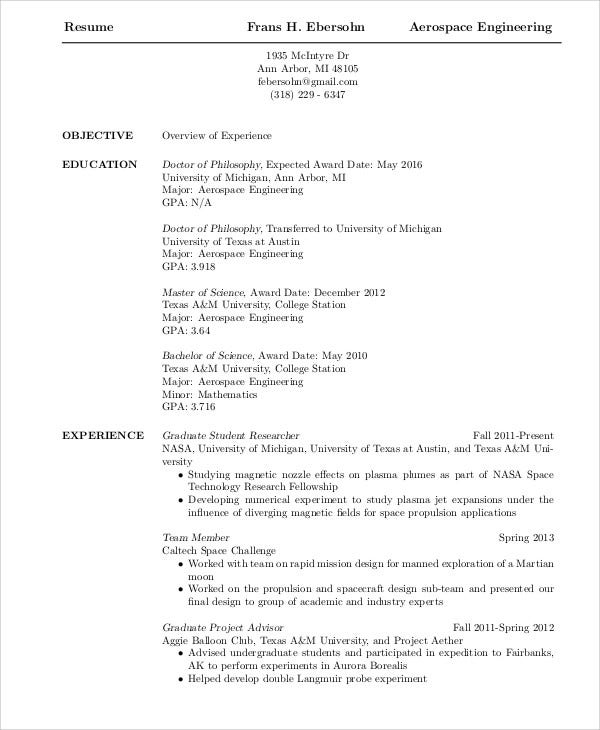aerospace engineering graduate resume