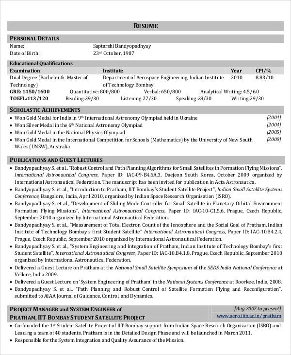 aerospace engineering resume sample