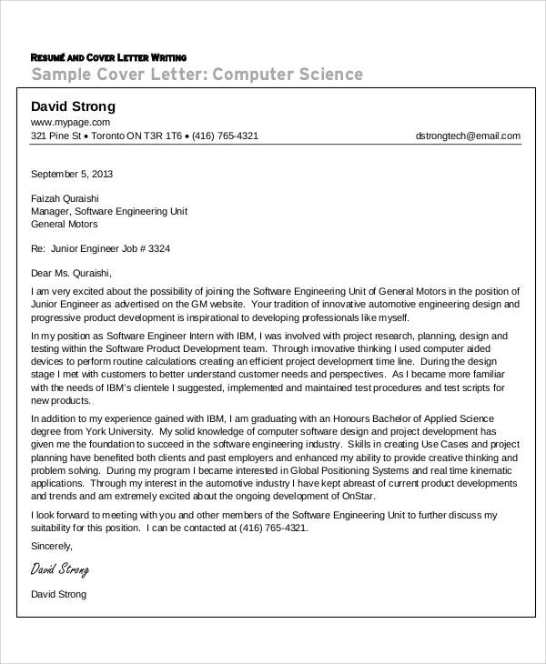 Computer engineer cover letter for resume