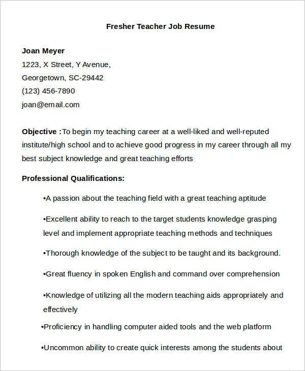 Fresher Teacher Job Resume Template