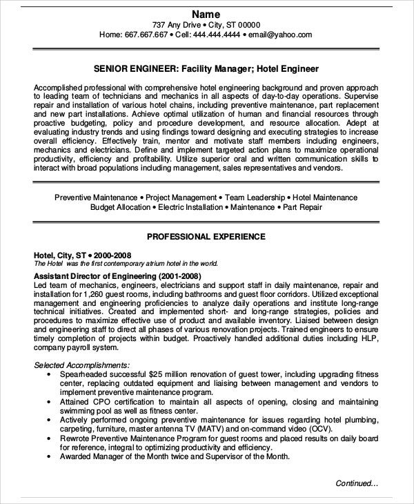 sample resume senior engineering manager