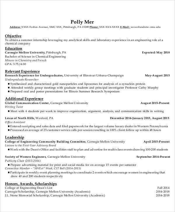 chemical engineering internship resume