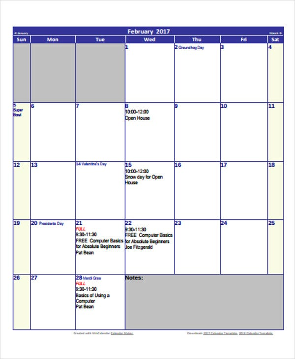 printable blank house calendar template