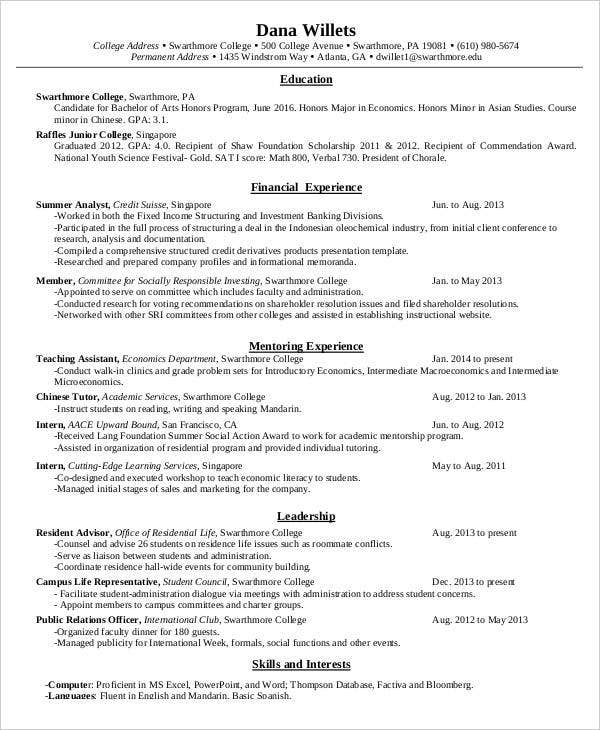 example resume fresh graduate teacher new examples sample college samples