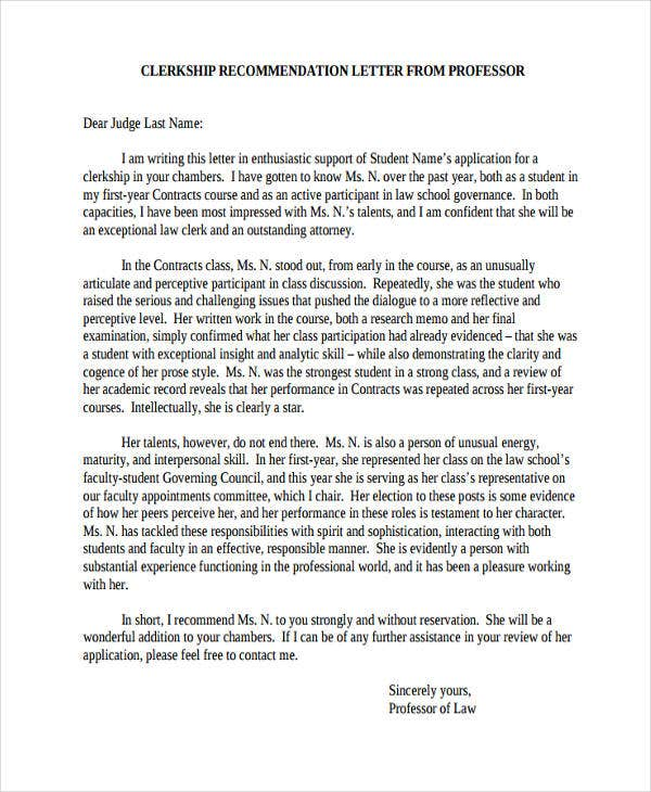 54  recommendation letter example templates