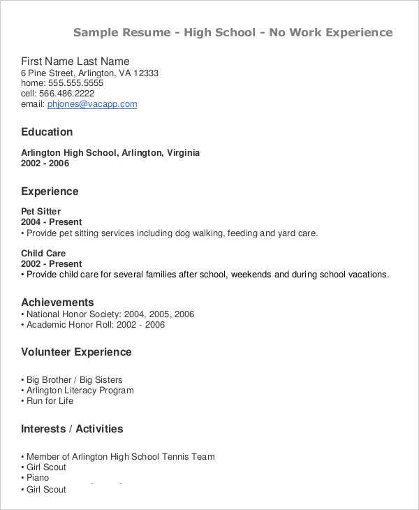 high school teacher resume format - Pet Sitter Resume