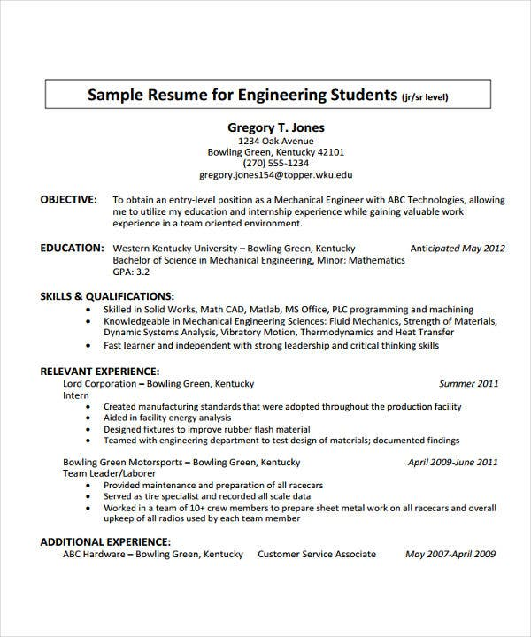 fresh graduate engineering resume