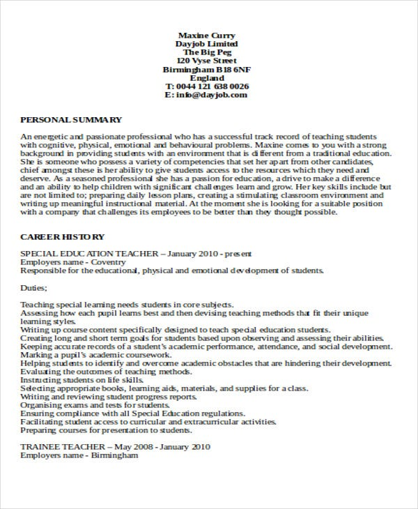 special education high school teacher resume