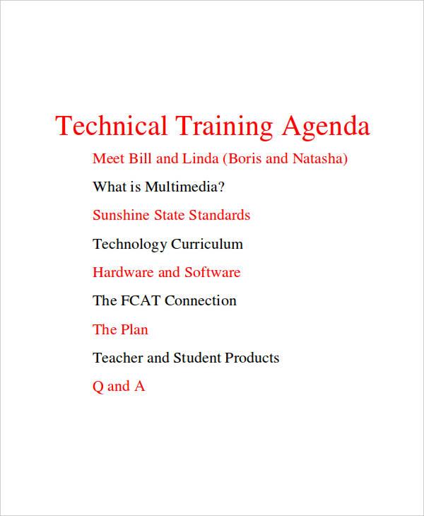 technical training agenda2