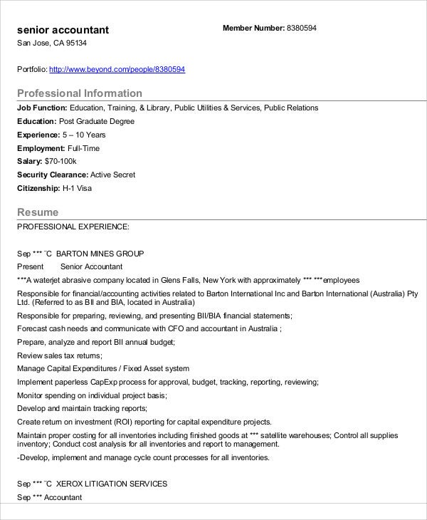 Free Senior Accountant Resume  Senior Accountant Resume