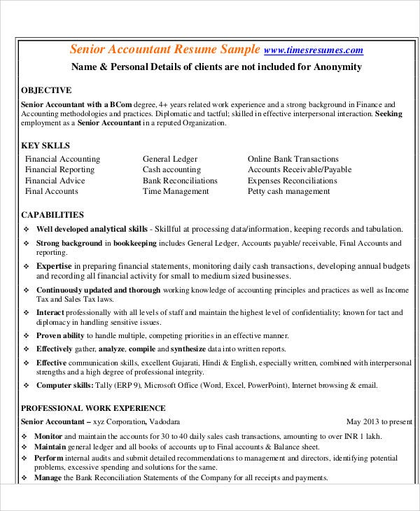 senior accountant resume sample - Accounting Resumes Samples