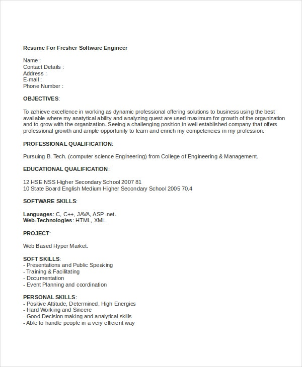 software engineering fresher resume1