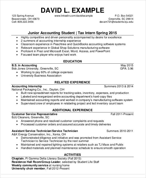 junior accountant student resume
