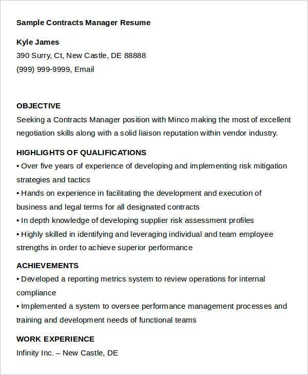 Superb Sample Contract Manager Resume