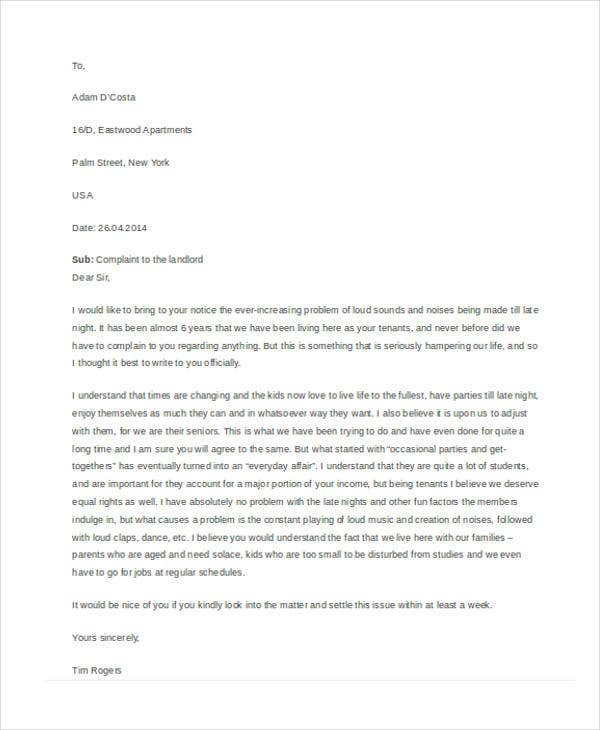 Complaint letters in pdf free premium templates for Complaint letter to landlord template