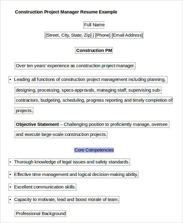 Example Of Construction Project Manager. Construction Project Manager  Resume Example