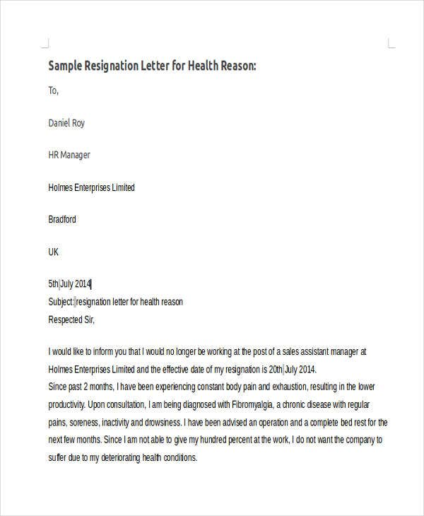 best sample resignation with reason