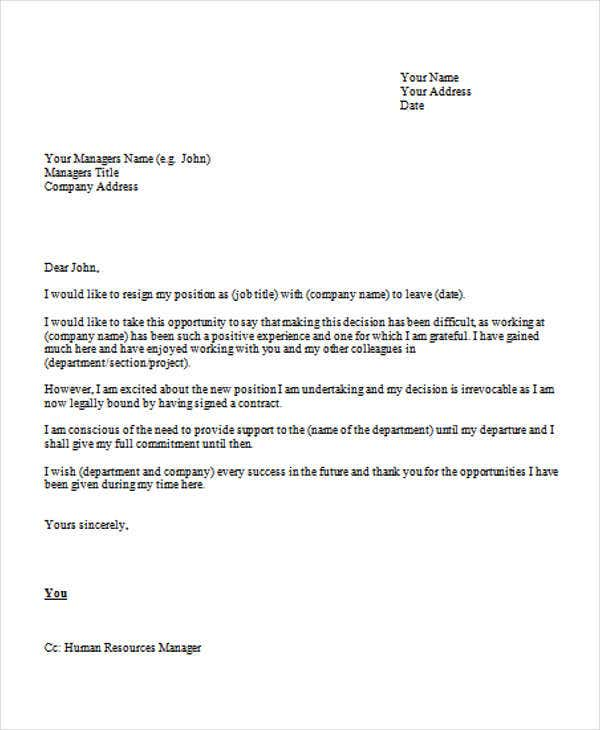 Formal Resignation Letters. Sample Formal Resignation Letter.  Change Job.com. Details. File Format