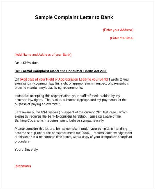 Complaint Letter To The Bank Template