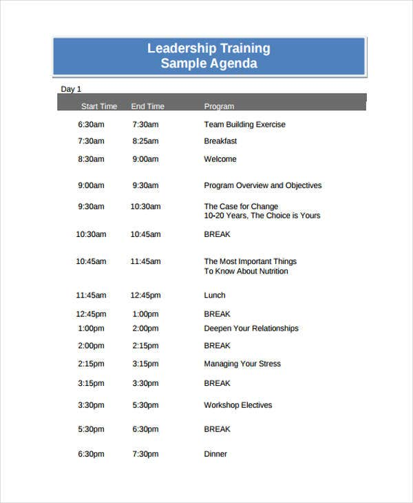 leadership training agenda