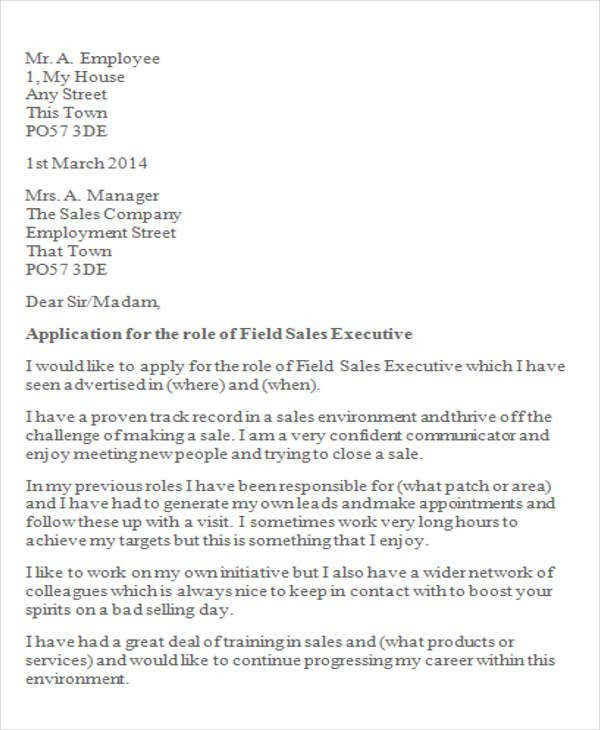 sales executive cover letters