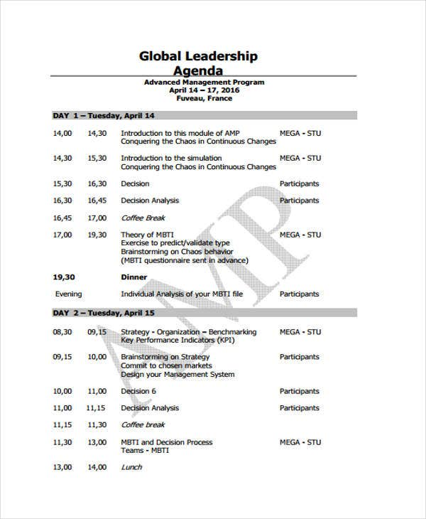 sample global leadership