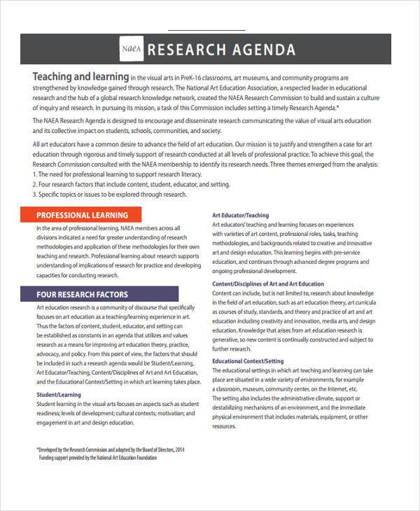 Research Agenda Templates   Free Word Pdf Format Download