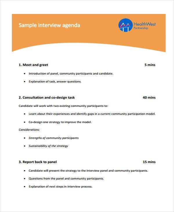 Interview Agenda Format   Free Sample Example Format Download