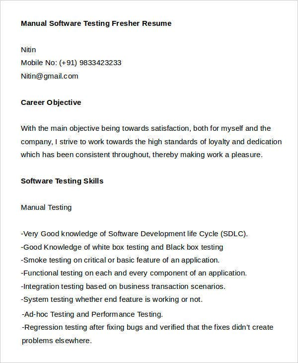 Manual Software Testing Fresher Resume