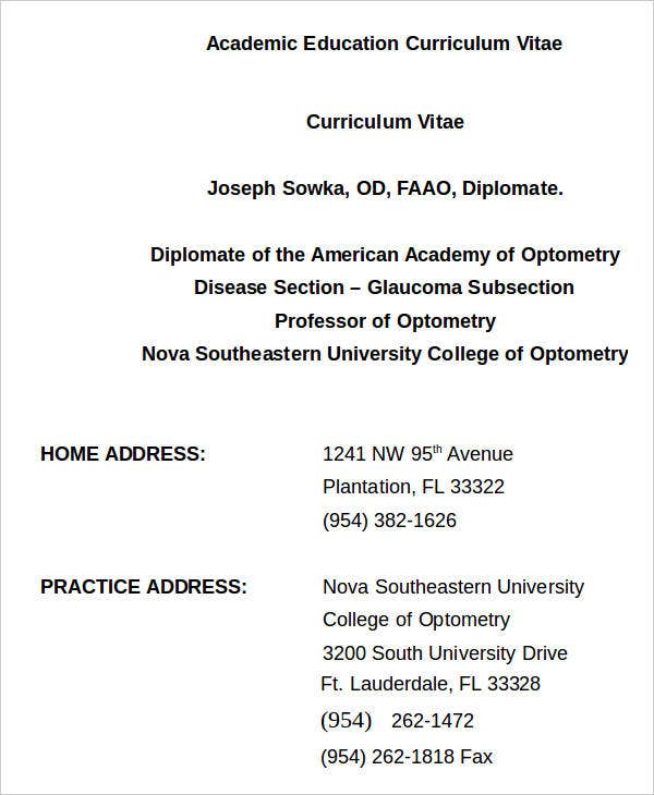 Academic Education Curriculum Vitae